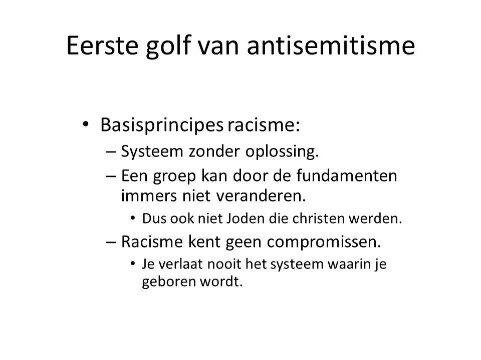 Eerste golf van antisemitisme • Basisprincipes racisme: – Systeem zonder oplossing. – Een groep kan door de fundamenten immers niet veranderen. • Dus