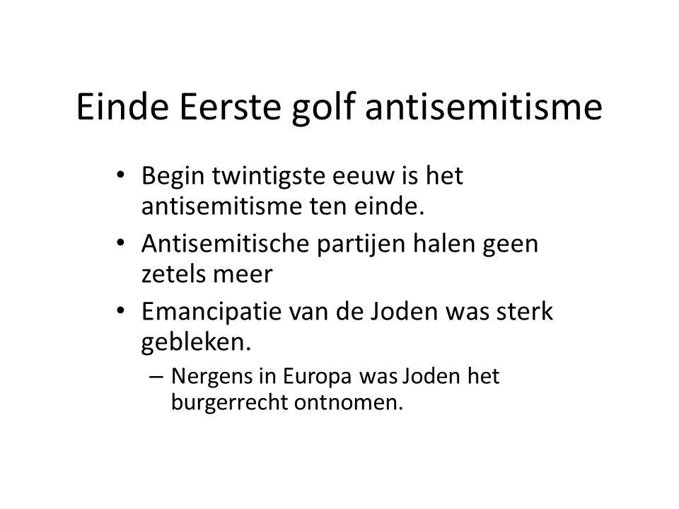 Einde Eerste golf antisemitisme • Begin twintigste eeuw is het antisemitisme ten einde. • Antisemitische partijen halen geen zetels meer • Emancipatie