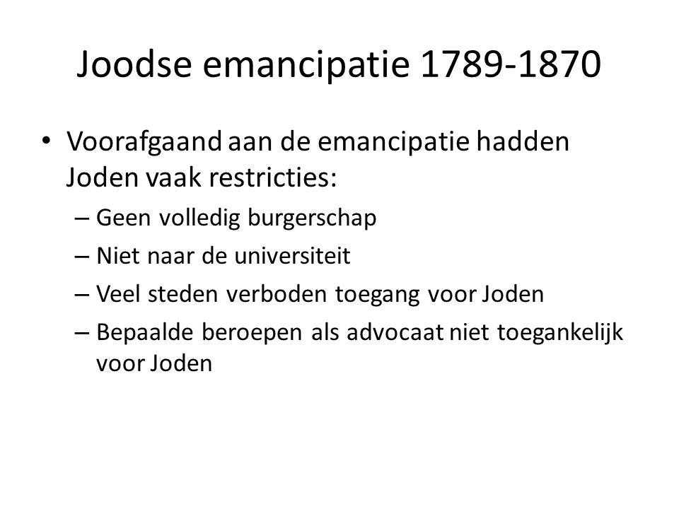 • Voorafgaand aan de emancipatie hadden Joden vaak restricties: – Geen volledig burgerschap – Niet naar de universiteit – Veel steden verboden toegang