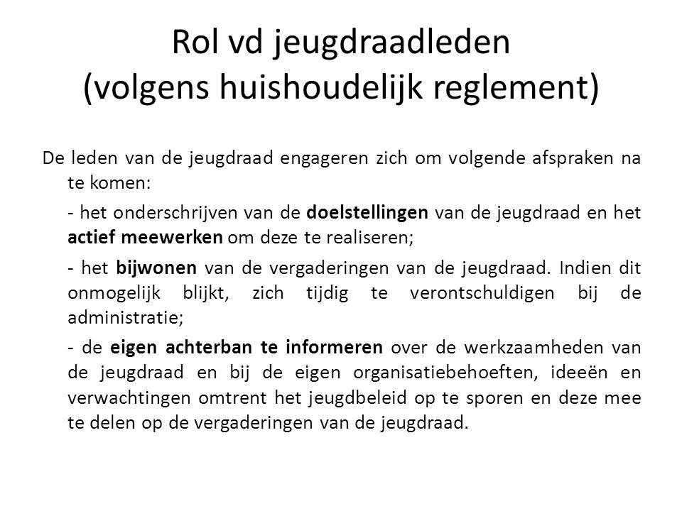 Rol vd jeugdraadleden (volgens huishoudelijk reglement) De leden van de jeugdraad engageren zich om volgende afspraken na te komen: - het onderschrijv