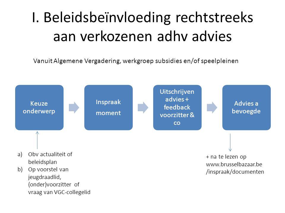 I. Beleidsbeïnvloeding rechtstreeks aan verkozenen adhv advies Keuze onderwerp Inspraak moment Uitschrijven advies + feedback voorzitter & co Advies a