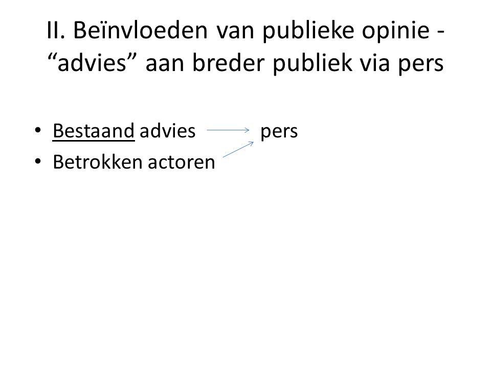 """II. Beïnvloeden van publieke opinie - """"advies"""" aan breder publiek via pers • Bestaand advies pers • Betrokken actoren"""