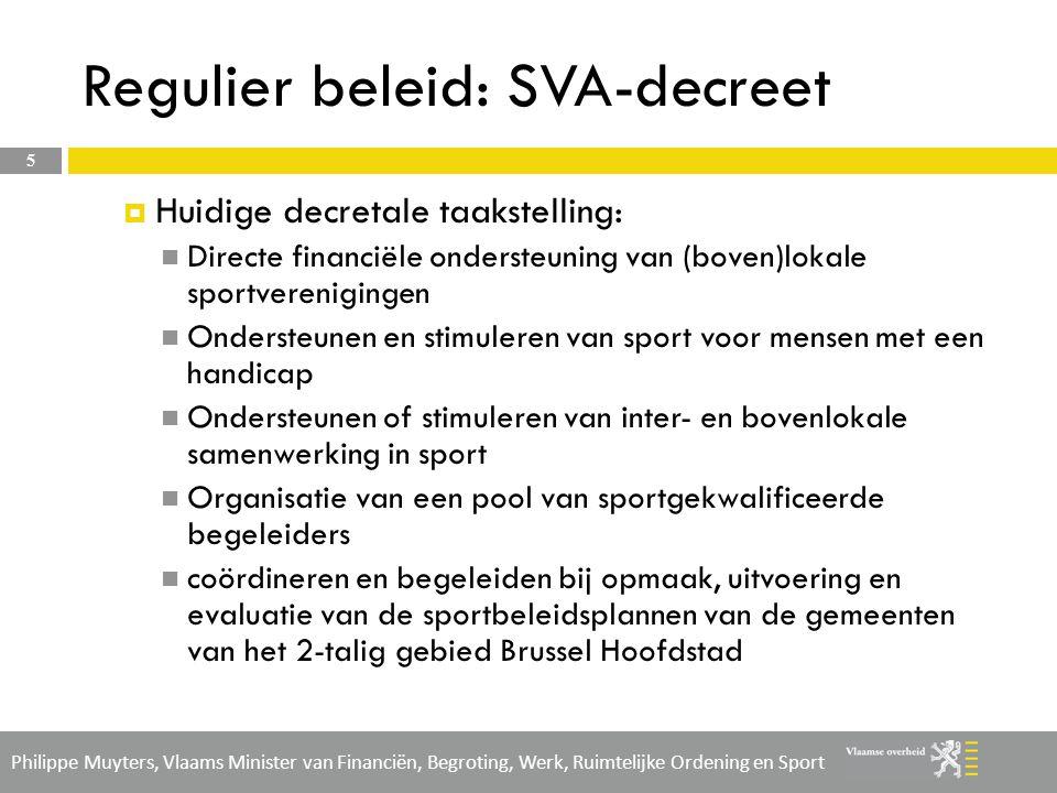 Philippe Muyters, Vlaams Minister van Financiën, Begroting, Werk, Ruimtelijke Ordening en Sport Brusselnorm sport 6  Toepassing van de Brusselnorm op het SVA-decreet  Voor 2012 wordt de subsidie pas definitief beslist na indiening van het jaarlijks verslag 2012 (09/2013).