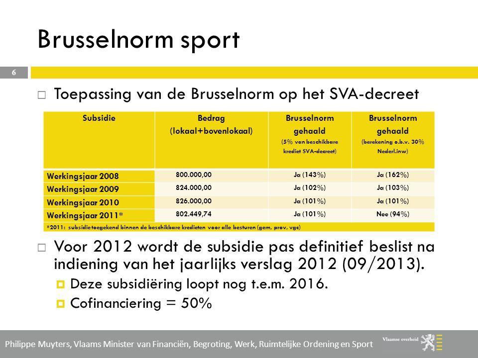 Philippe Muyters, Vlaams Minister van Financiën, Begroting, Werk, Ruimtelijke Ordening en Sport Regulier beleid: decreet lokaal sportbeleid (toekomst) 7  Door cyclus van beleidsplan zal VGC pas in nieuwe decreet lokaal sportbeleid stappen vanaf 2016  Tijdens vorige cyclus moest VGC nog rekening houden met eventuele instap van de verschillende Brusselse gemeenten, vanaf 2016 kan VGC nog als enige instappen in het nieuwe decreet