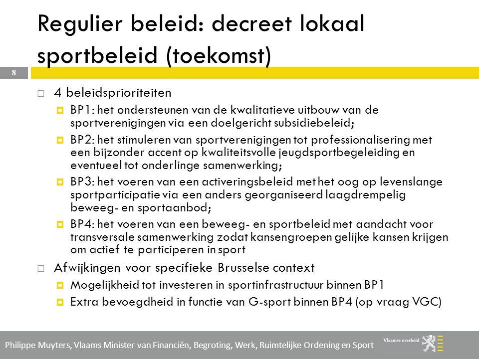 Philippe Muyters, Vlaams Minister van Financiën, Begroting, Werk, Ruimtelijke Ordening en Sport Beleid (beroeps)opleidingen in Brussel  Intentie om 5 % van het budget inzake (beroeps)opleiding te besteden aan tweetalig gebied Brussel-Hoofdstad.