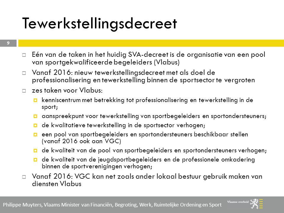 Philippe Muyters, Vlaams Minister van Financiën, Begroting, Werk, Ruimtelijke Ordening en Sport  Regionale Dienst Brussel werkt via 2 opleidingslocaties, nl.