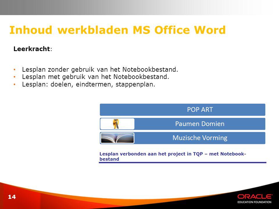14 Inhoud werkbladen MS Office Word Leerkracht : • Lesplan zonder gebruik van het Notebookbestand. • Lesplan met gebruik van het Notebookbestand. • Le