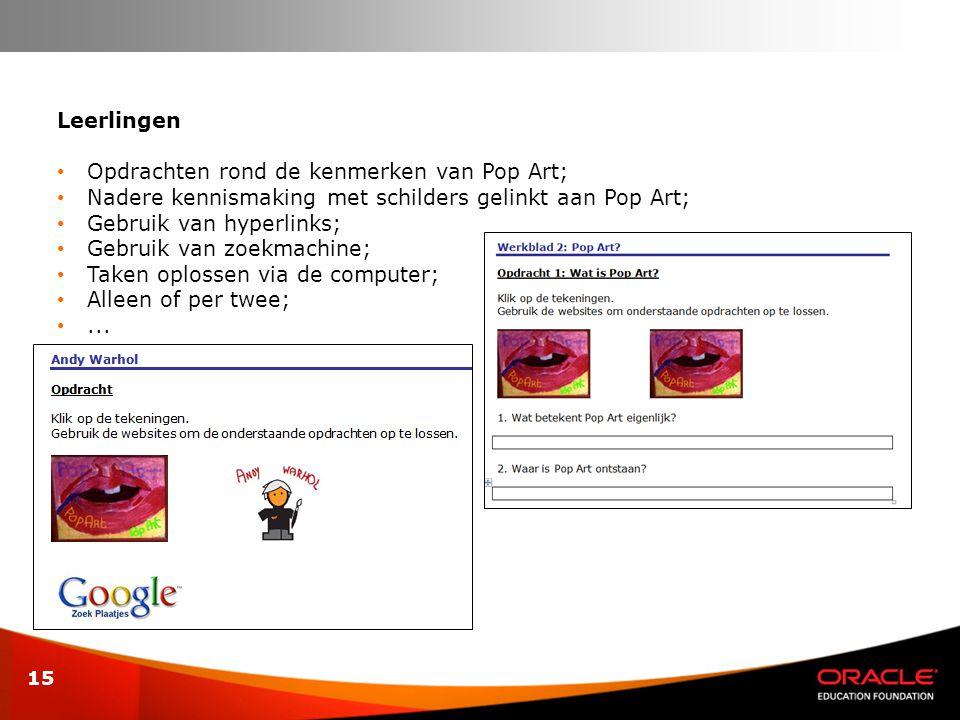 15 Leerlingen • Opdrachten rond de kenmerken van Pop Art; • Nadere kennismaking met schilders gelinkt aan Pop Art; • Gebruik van hyperlinks; • Gebruik