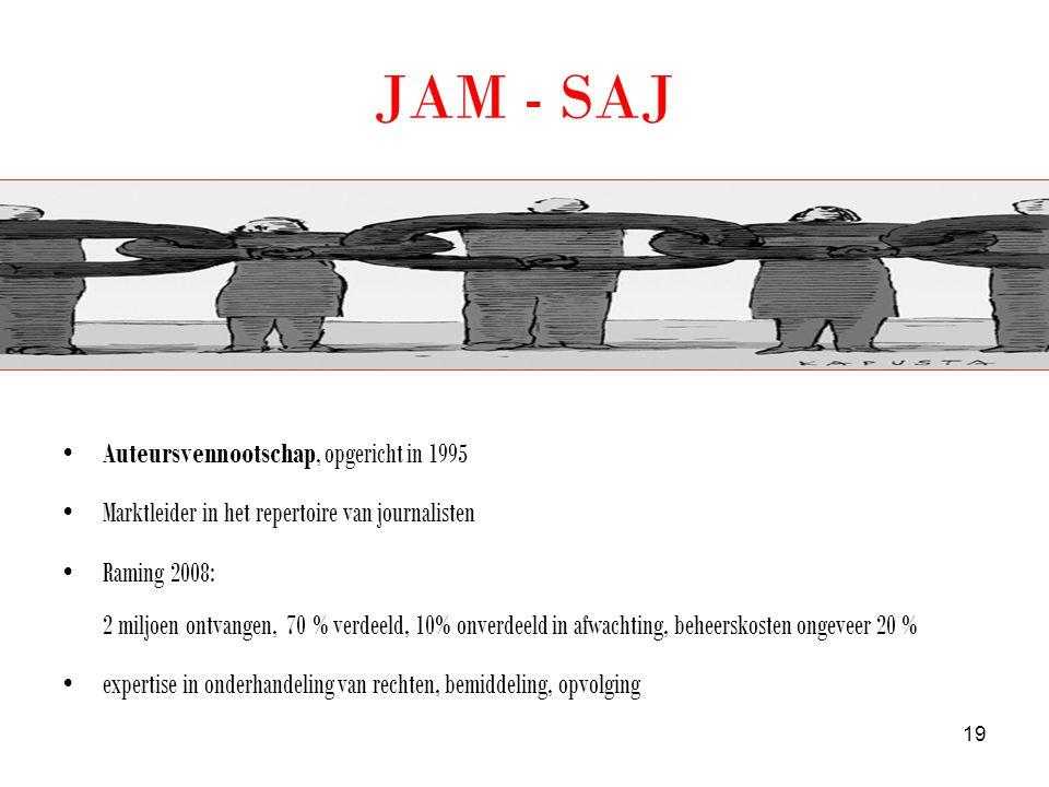 JAM - SAJ •Auteursvennootschap, opgericht in 1995 •Marktleider in het repertoire van journalisten •Raming 2008: 2 miljoen ontvangen, 70 % verdeeld, 10% onverdeeld in afwachting, beheerskosten ongeveer 20 % •expertise in onderhandeling van rechten, bemiddeling, opvolging 19