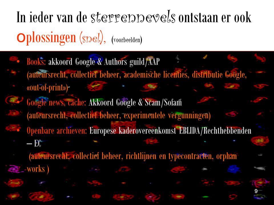 In ieder van de sterrennevels ontstaan er ook o plossingen ( snel ), ( voorbeelden ) •Books: akkoord Google & Authors guild/AAP (auteursrecht, collectief beheer, academische licenties, distributie Google, «out-of-print») •Google news, cache: Akkoord Google & Scam/Sofam (auteursrecht, collectief beheer, experimentele vergunningen) •Openbare archieven: Europese kaderovereenkomst EBLIDA/Rechthebbenden – EC (auteursrecht, collectief beheer, richtlijnen en typecontracten, orphan works ) 9