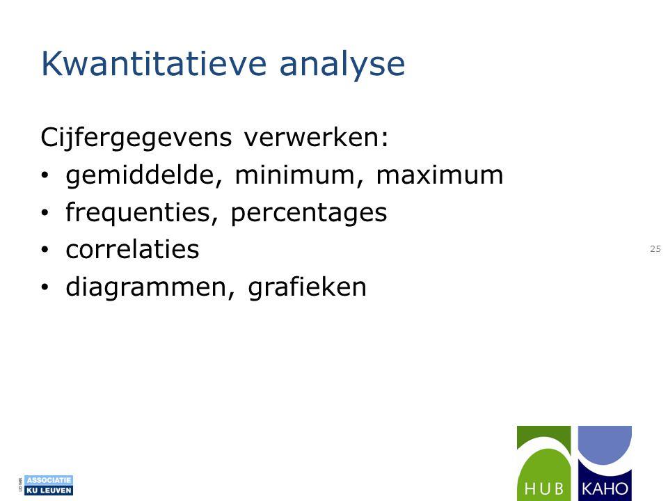 Kwantitatieve analyse Cijfergegevens verwerken: • gemiddelde, minimum, maximum • frequenties, percentages • correlaties • diagrammen, grafieken 25