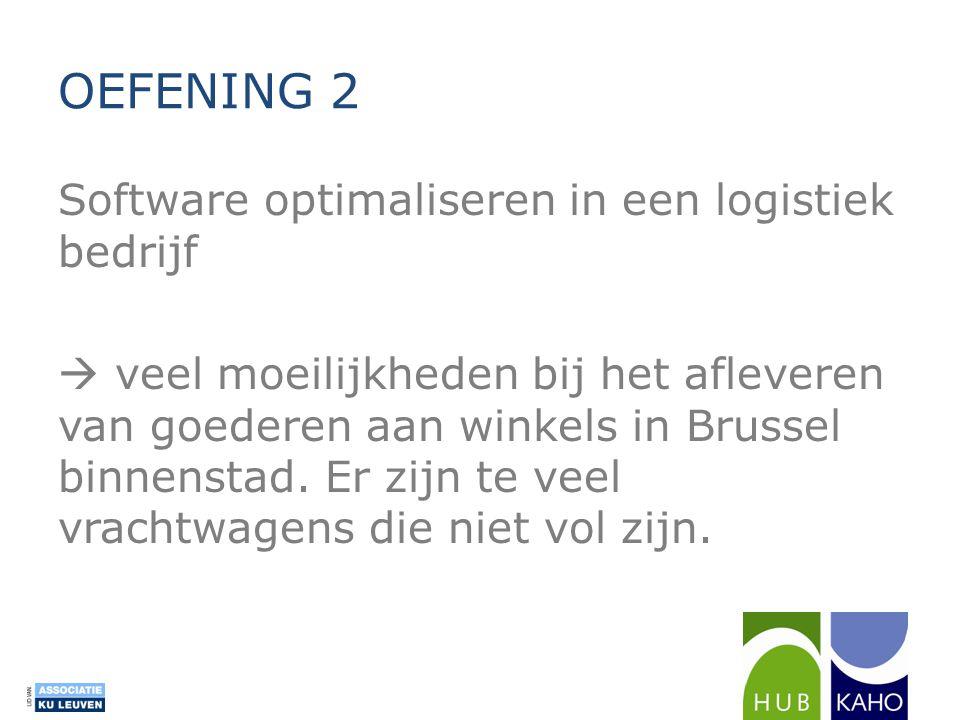 OEFENING 2 Software optimaliseren in een logistiek bedrijf  veel moeilijkheden bij het afleveren van goederen aan winkels in Brussel binnenstad. Er z