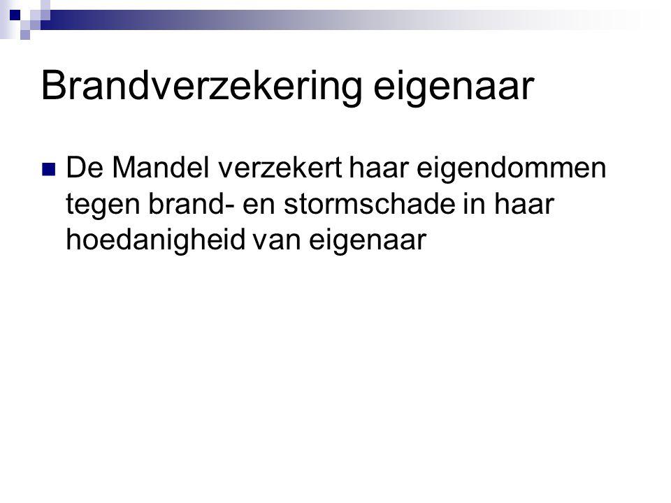 Brandverzekering eigenaar  De Mandel verzekert haar eigendommen tegen brand- en stormschade in haar hoedanigheid van eigenaar