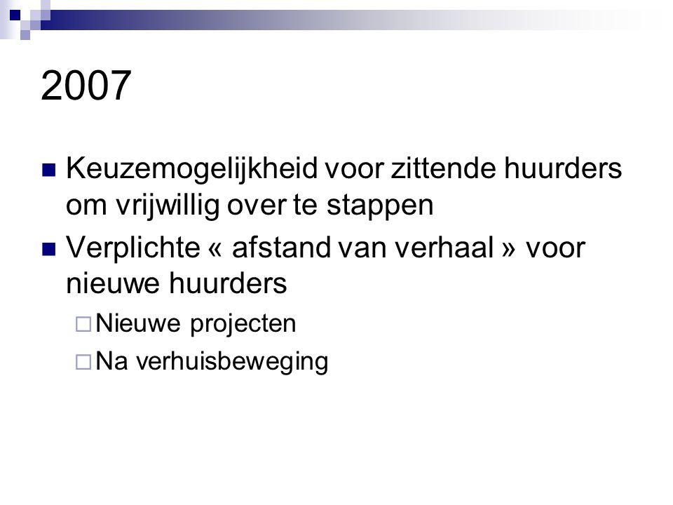 2007  Keuzemogelijkheid voor zittende huurders om vrijwillig over te stappen  Verplichte « afstand van verhaal » voor nieuwe huurders  Nieuwe proje