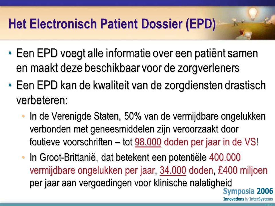 Slide 12 Het Electronisch Patient Dossier (EPD) •Een EPD voegt alle informatie over een patiënt samen en maakt deze beschikbaar voor de zorgverleners •Een EPD kan de kwaliteit van de zorgdiensten drastisch verbeteren: •In de Verenigde Staten, 50% van de vermijdbare ongelukken verbonden met geneesmiddelen zijn veroorzaakt door foutieve voorschriften – tot 98.000 doden per jaar in de VS.