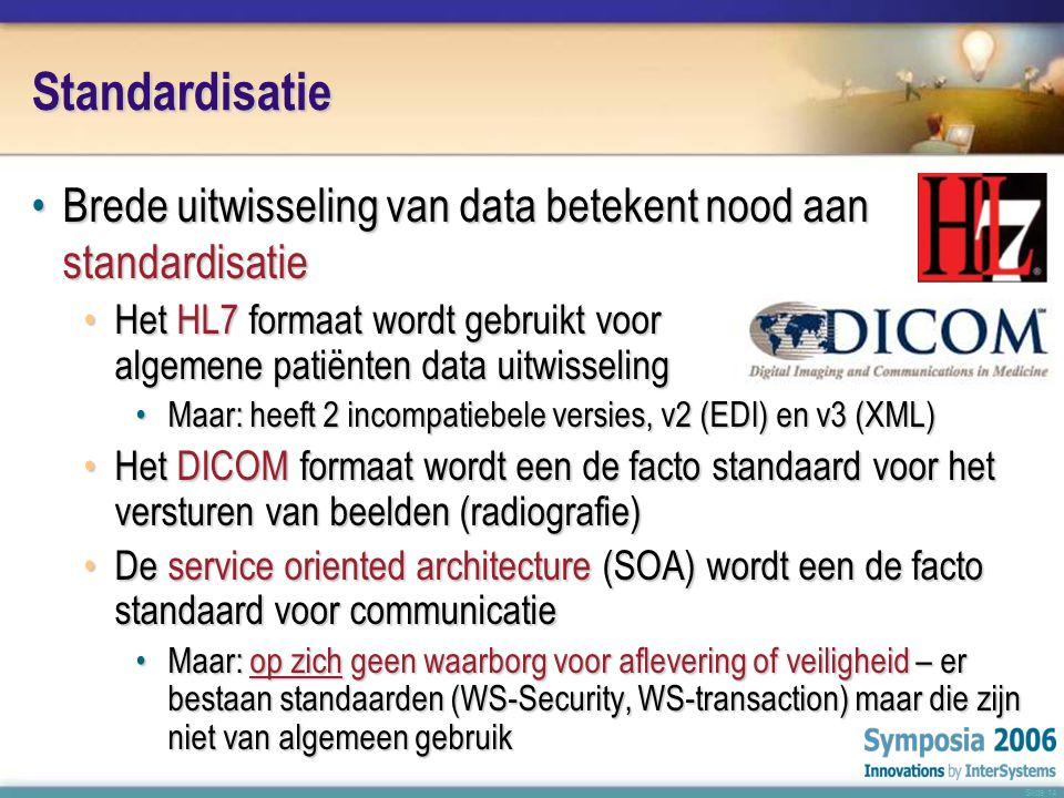 Slide 14 Standardisatie •Brede uitwisseling van data betekent nood aan standardisatie •Het HL7 formaat wordt gebruikt voor algemene patiënten data uitwisseling •Maar: heeft 2 incompatiebele versies, v2 (EDI) en v3 (XML) •Het DICOM formaat wordt een de facto standaard voor het versturen van beelden (radiografie) •De service oriented architecture (SOA) wordt een de facto standaard voor communicatie •Maar: op zich geen waarborg voor aflevering of veiligheid – er bestaan standaarden (WS-Security, WS-transaction) maar die zijn niet van algemeen gebruik
