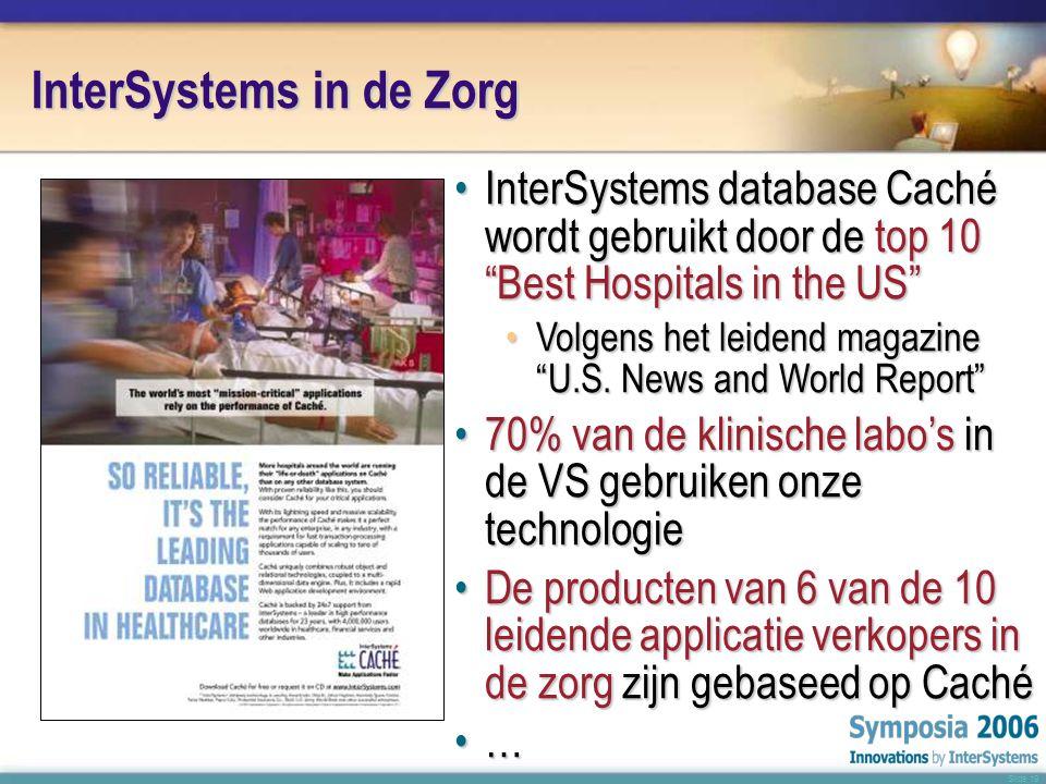 Slide 19 InterSystems in de Zorg •InterSystems database Caché wordt gebruikt door de top 10 Best Hospitals in the US •Volgens het leidend magazine U.S.