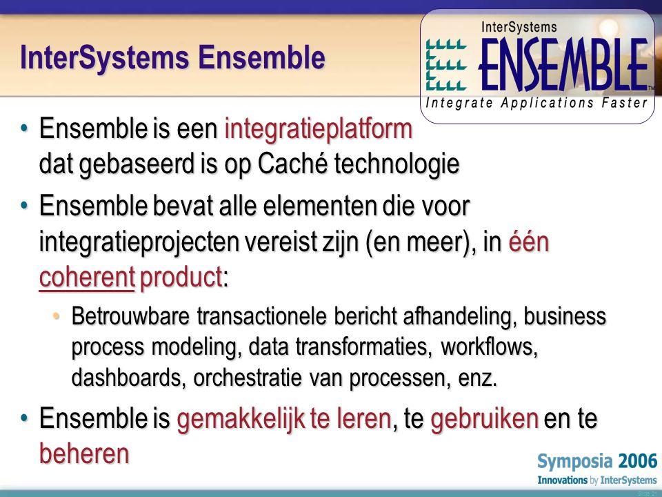 Slide 21 InterSystems Ensemble •E•E•E•Ensemble is een integratieplatform dat gebaseerd is op Caché technologie •E•E•E•Ensemble bevat alle elementen die voor integratieprojecten vereist zijn (en meer), in één coherent product: •B•B•B•Betrouwbare transactionele bericht afhandeling, business process modeling, data transformaties, workflows, dashboards, orchestratie van processen, enz.