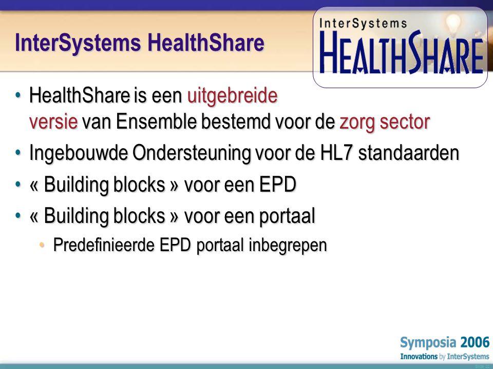 Slide 22 InterSystems HealthShare •HealthShare is een uitgebreide versie van Ensemble bestemd voor de zorg sector •Ingebouwde Ondersteuning voor de HL7 standaarden •« Building blocks » voor een EPD •« Building blocks » voor een portaal •Predefinieerde EPD portaal inbegrepen