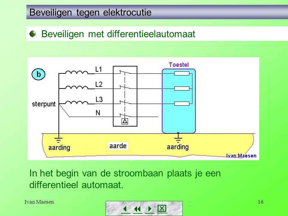 Ivan Maesen16        Beveiligen tegen elektrocutie Beveiligen met differentieelautomaat In het begin van de stroombaan plaats je een differentieel automaat.