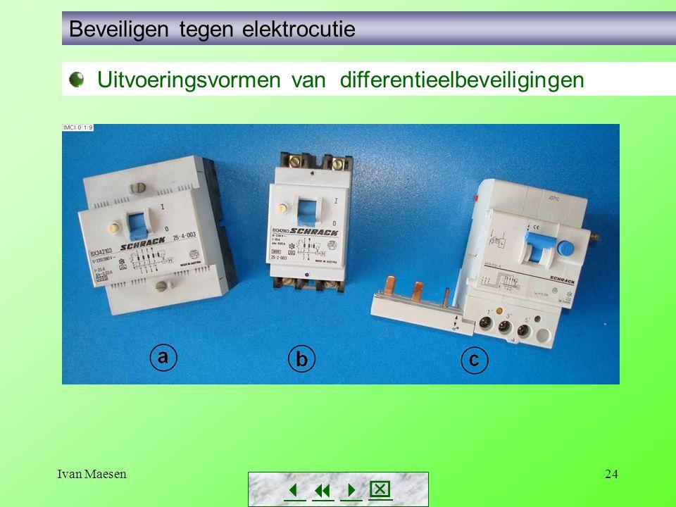 Ivan Maesen24        Beveiligen tegen elektrocutie Uitvoeringsvormen van differentieelbeveiligingen