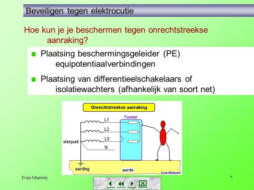 Ivan Maesen7        Beveiligen tegen elektrocutie Plaatsing beschermingsgeleider (PE) equipotentiaalverbindingen Plaatsing van differentieelschakelaars of isolatiewachters (afhankelijk van soort net) Hoe kun je je beschermen tegen onrechtstreekse aanraking?