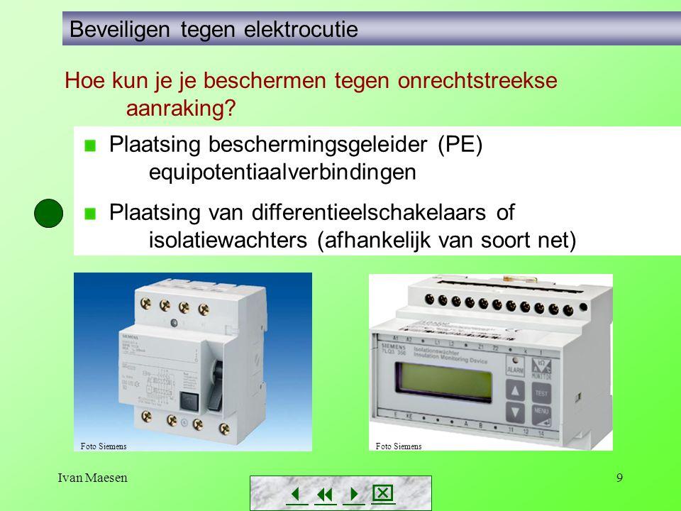 Ivan Maesen9        Beveiligen tegen elektrocutie Plaatsing beschermingsgeleider (PE) equipotentiaalverbindingen Plaatsing van differentieelsc