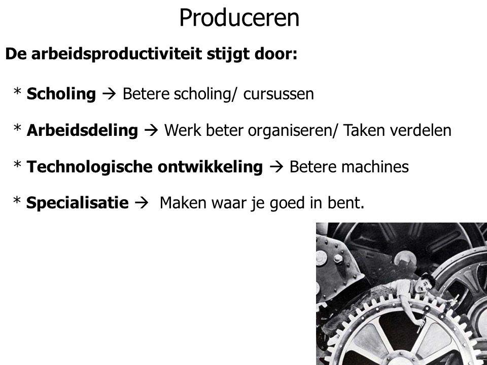Produceren De arbeidsproductiviteit stijgt door: * Scholing  Betere scholing/ cursussen * Arbeidsdeling  Werk beter organiseren/ Taken verdelen * Te
