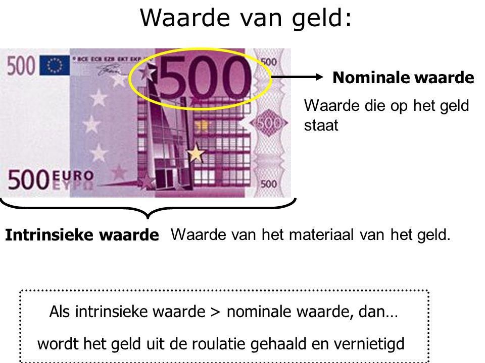 Waarde van geld: Nominale waarde Waarde die op het geld staat Intrinsieke waarde Waarde van het materiaal van het geld. Als intrinsieke waarde > nomin