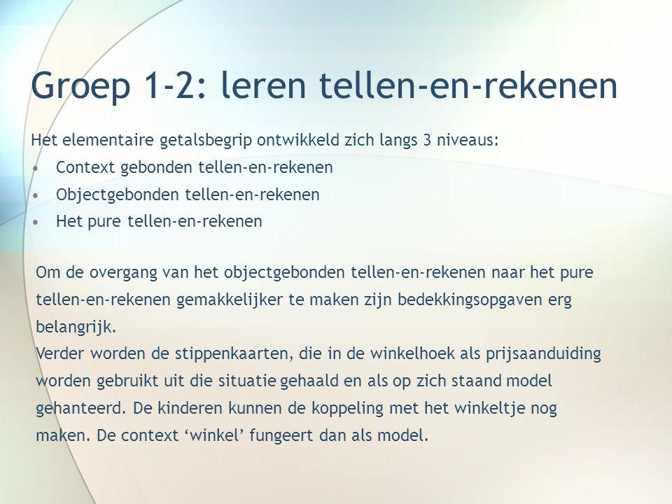Groep 1-2: leren tellen-en-rekenen Het elementaire getalsbegrip ontwikkeld zich langs 3 niveaus: •Context gebonden tellen-en-rekenen •Objectgebonden t