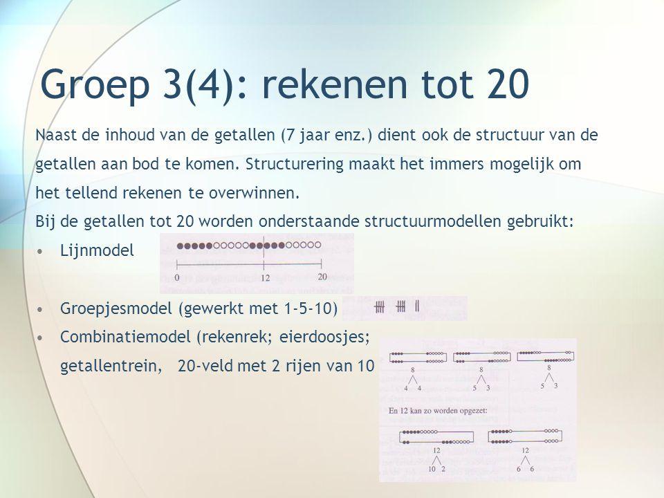 Groep 3(4): rekenen tot 20 Naast de inhoud van de getallen (7 jaar enz.) dient ook de structuur van de getallen aan bod te komen. Structurering maakt