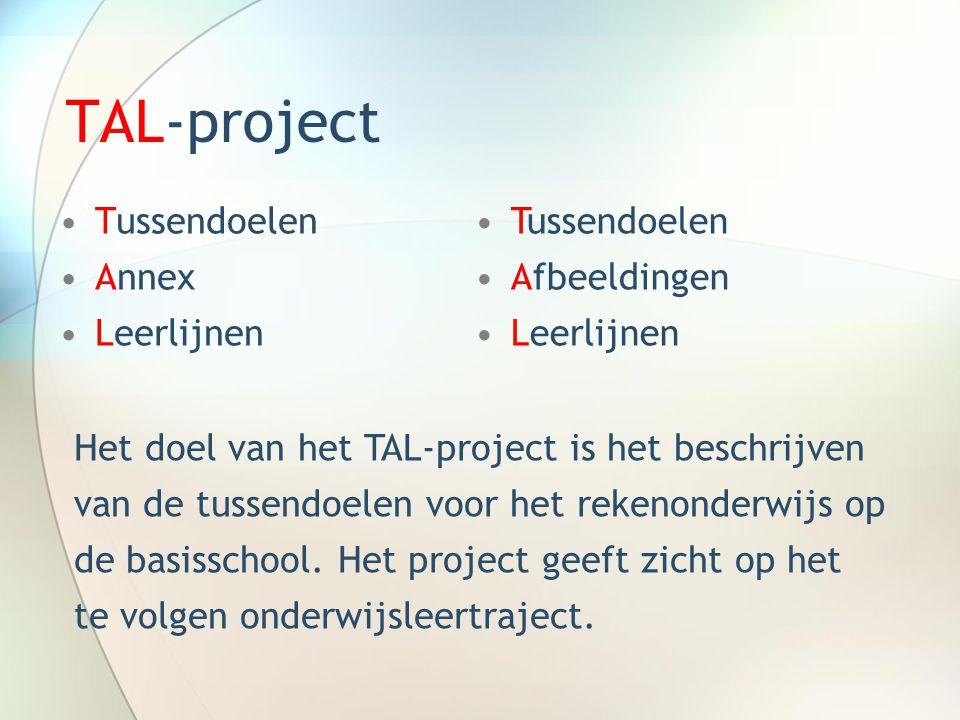 TAL-project •Tussendoelen •Annex •Leerlijnen •Tussendoelen •Afbeeldingen •Leerlijnen Het doel van het TAL-project is het beschrijven van de tussendoel