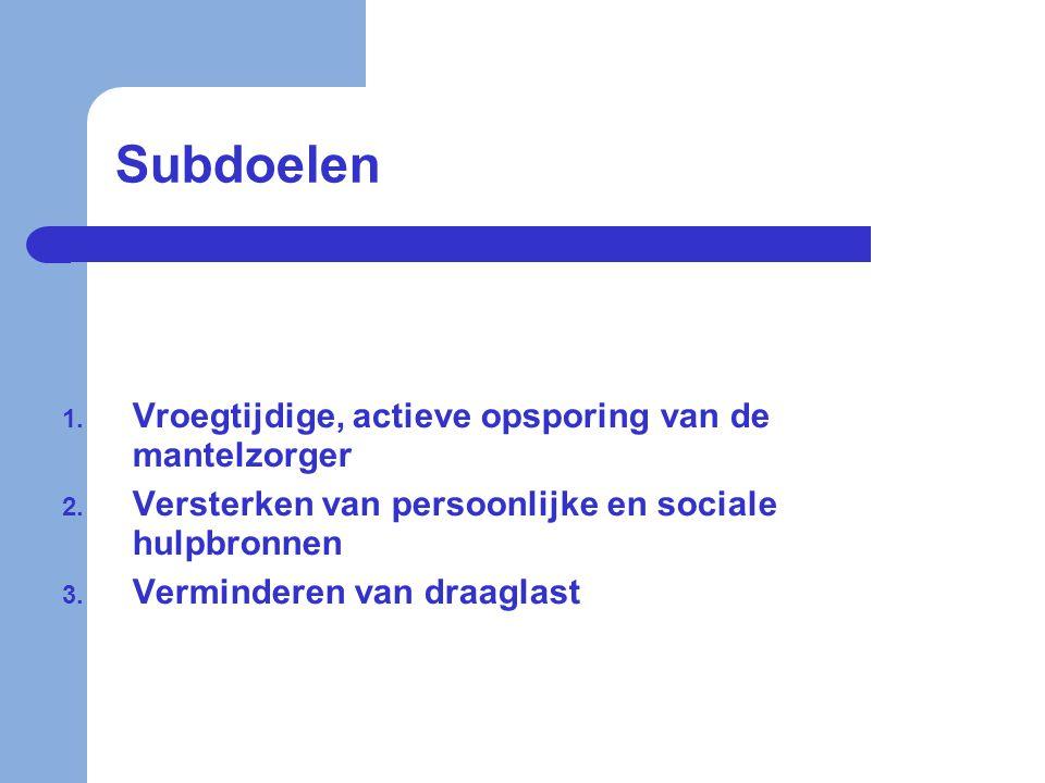 Subdoelen 1. Vroegtijdige, actieve opsporing van de mantelzorger 2. Versterken van persoonlijke en sociale hulpbronnen 3. Verminderen van draaglast