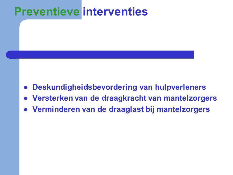 Preventieve interventies  Deskundigheidsbevordering van hulpverleners  Versterken van de draagkracht van mantelzorgers  Verminderen van de draaglas