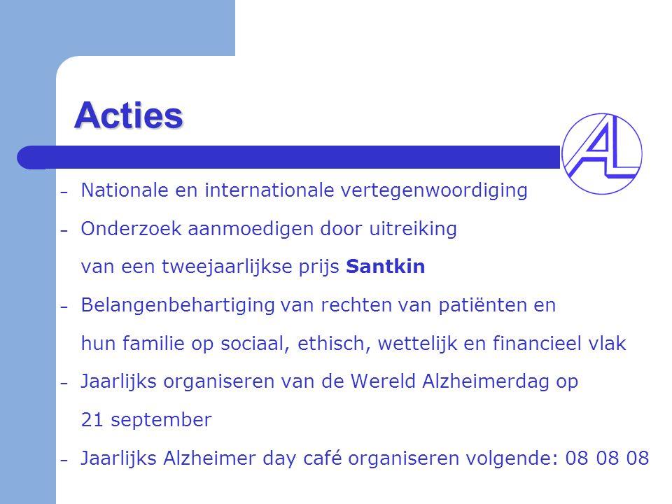 Acties – Nationale en internationale vertegenwoordiging – Onderzoek aanmoedigen door uitreiking van een tweejaarlijkse prijs Santkin – Belangenbeharti