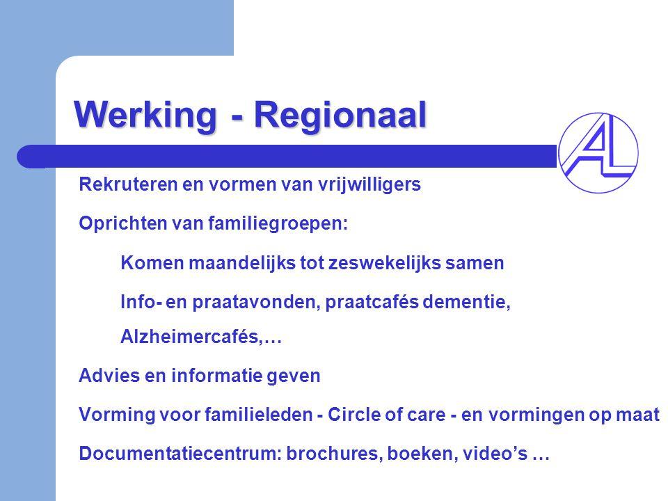 Werking - Regionaal Rekruteren en vormen van vrijwilligers Oprichten van familiegroepen: Komen maandelijks tot zeswekelijks samen Info- en praatavonde