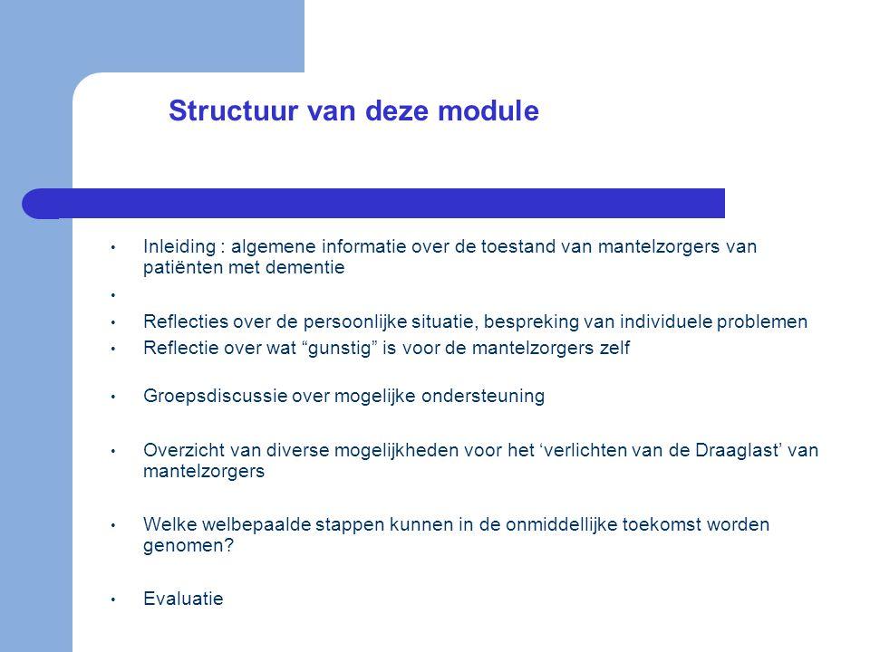 Structuur van deze module • Inleiding : algemene informatie over de toestand van mantelzorgers van patiënten met dementie • • Reflecties over de perso