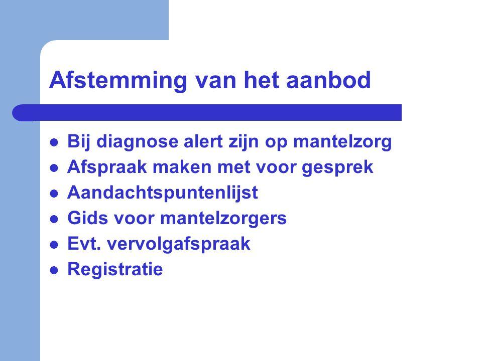 Afstemming van het aanbod  Bij diagnose alert zijn op mantelzorg  Afspraak maken met voor gesprek  Aandachtspuntenlijst  Gids voor mantelzorgers 