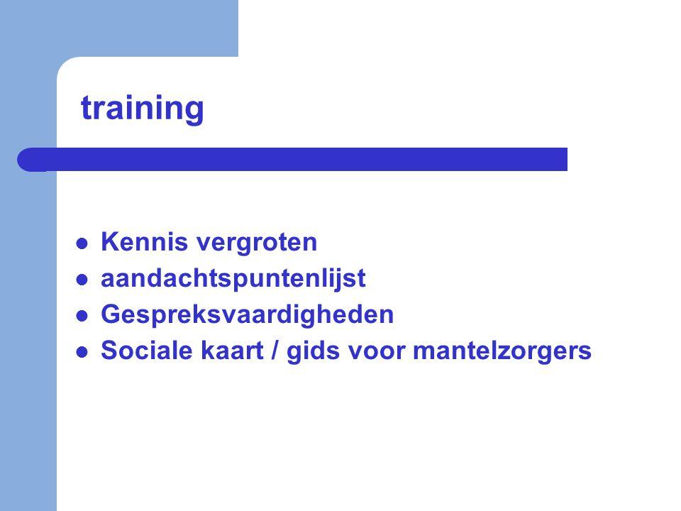 training  Kennis vergroten  aandachtspuntenlijst  Gespreksvaardigheden  Sociale kaart / gids voor mantelzorgers