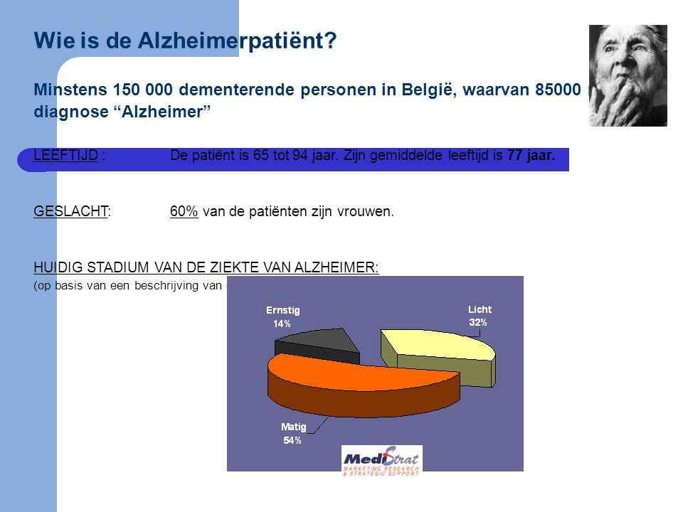 """Wie is de Alzheimerpatiënt? Minstens 150 000 dementerende personen in België, waarvan 85000 met de diagnose """"Alzheimer"""" LEEFTIJD:De patiënt is 65 tot"""