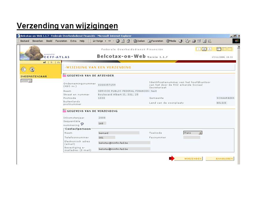 Verzending van wijzigingen Klik op « VERZENDEN »