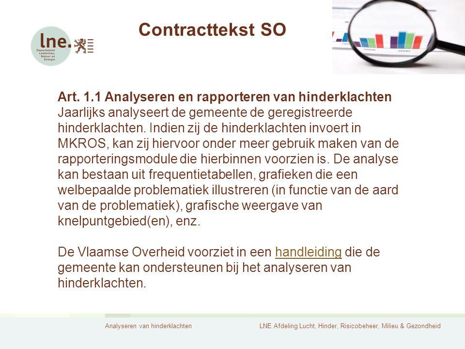 Analyseren van hinderklachtenLNE Afdeling Lucht, Hinder, Risicobeheer, Milieu & Gezondheid Contracttekst SO Art.