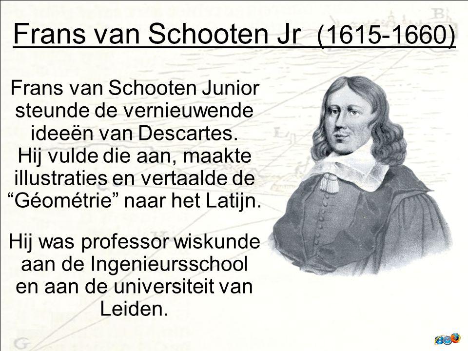 Frans van Schooten Jr (1615-1660) Frans van Schooten Junior steunde de vernieuwende ideeën van Descartes.