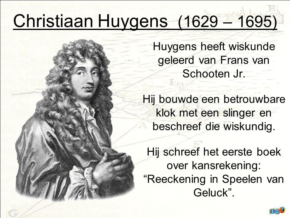 Christiaan Huygens (1629 – 1695) Huygens heeft wiskunde geleerd van Frans van Schooten Jr.
