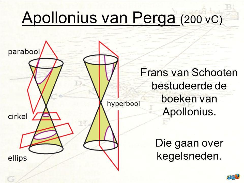 Apollonius van Perga ( 200 vC) Frans van Schooten bestudeerde de boeken van Apollonius.