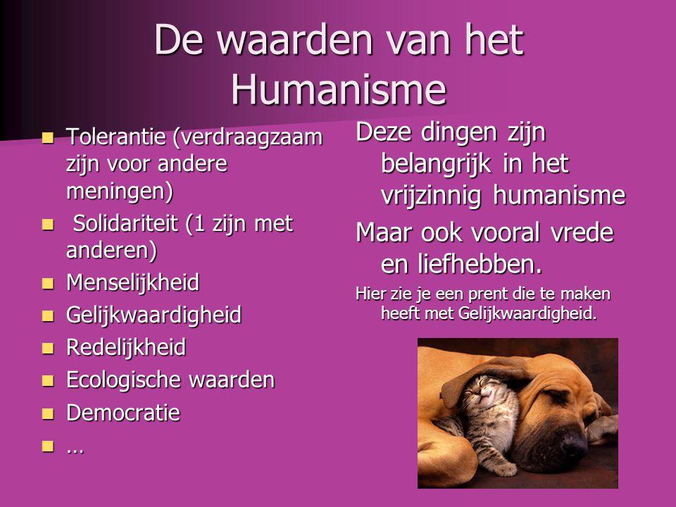 De waarden van het Humanisme  Tolerantie (verdraagzaam zijn voor andere meningen)  Solidariteit (1 zijn met anderen)  Menselijkheid  Gelijkwaardig