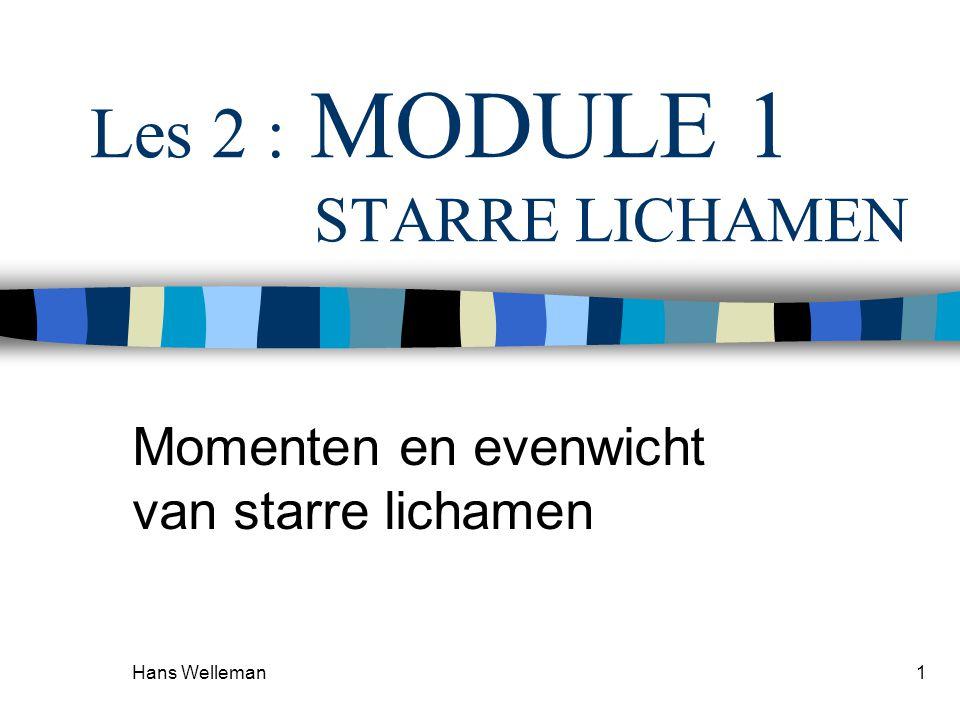 Hans Welleman1 Les 2 : MODULE 1 STARRE LICHAMEN Momenten en evenwicht van starre lichamen