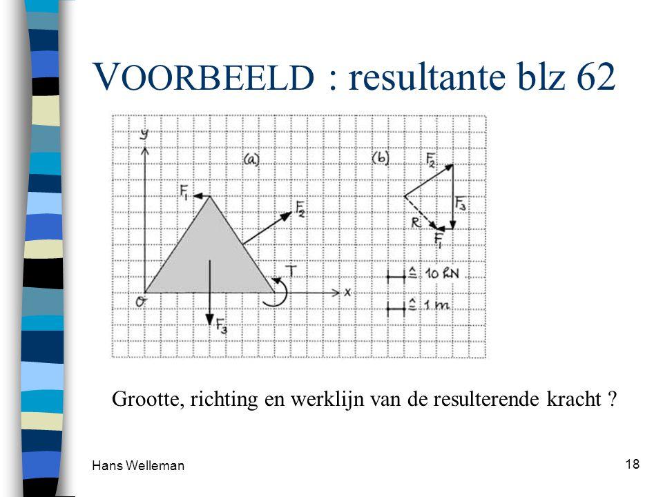 Hans Welleman 18 V OORBEELD : resultante blz 62 Grootte, richting en werklijn van de resulterende kracht ?