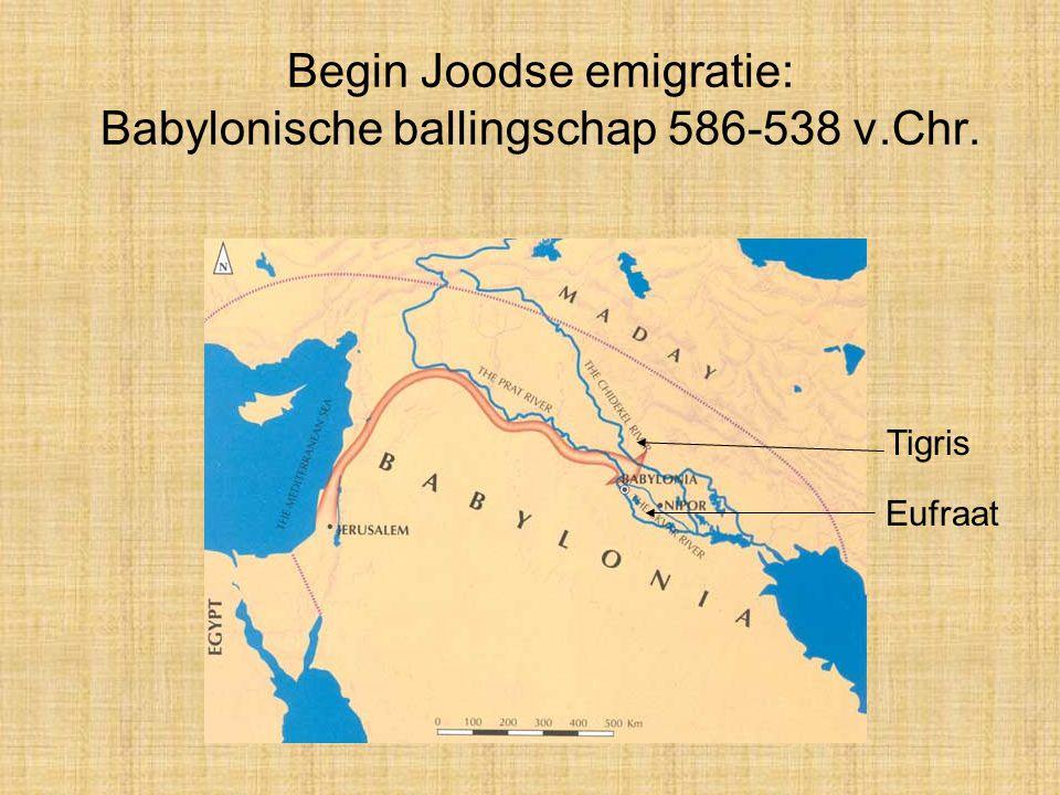 Begin Joodse emigratie: Babylonische ballingschap 586-538 v.Chr. Tigris Eufraat