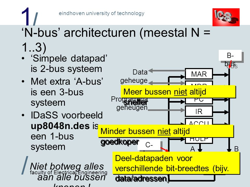 1/1/ / faculty of Electrical Engineering eindhoven university of technology 'N-bus' architecturen (meestal N = 1..3) •'Simpele datapad' is 2-bus systeem •Met extra 'A-bus' is een 3-bus systeem •IDaSS voorbeeld up8048n.des is een 1-bus systeem Niet botweg alles aan alle bussen knopen .